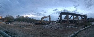 The scene at the Jack Wood Stadium demolition site Tuesday night photo by Gary Lloyd