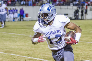 Clay-Chalkville senior wideout T.J. Simmons pulled down four receptions for 116 yards and a score in Friday night's 45-35 semifinal win at Austin. photo by Ron Burkett