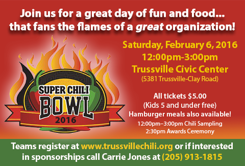 Trussville the super chili bowl is back for another year in 2016