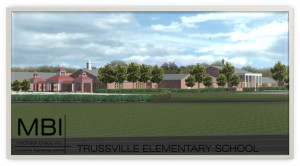 A rendering of what the elementary school in the Cahaba Project will look like, as seen from where Jack Wood Stadium used to stand photo courtesy of Trussville City Schools