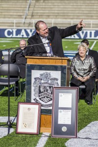 Clay-Chalkville head coach Jerry Hood speaks at Friday's event. photo by Ron Burkett