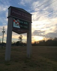 The sign outside Pinson City Hall photo by Gary Lloyd