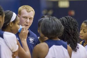 Clay-Chalkville head coach Justin Haynie talks to his team earlier this season. file photo by Ron Burkett