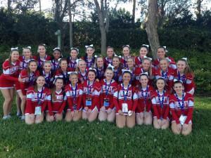 The Hewitt-Trussville competition cheerleading team photo courtesy of Hewitt-Trussville Athletics