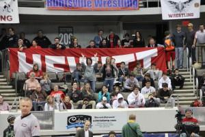 Hewitt-Trussville wrestling fans celebrate in Huntsville file photo by Erik Harris