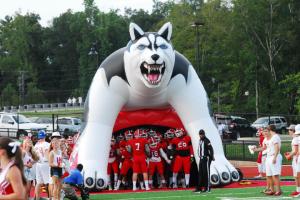 Hewitt-Trussville taking the field on Friday night. photo by Kristi Slawson