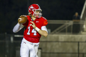 Hewitt-Trussville quarterback Zac Thomas looks downfield in a game against Thompson earlier this season. Photo by Ron Burkett