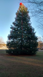 The Trussville Christmas tree was vandalized Saturday night. Photo by Chris Yow