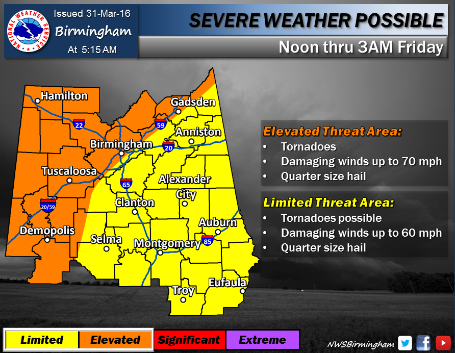 Severe weather possible on Thursday