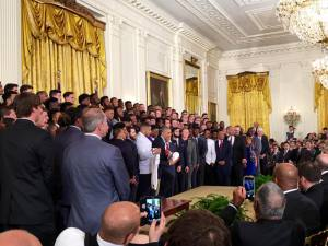Jaime and Ethan Melton of Trussville were on hand as President Barack Obama greeted Coach Nick Saban and the University of Alabama football team. Submitted photo