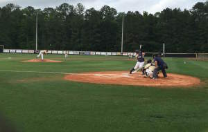 Thomas Johns leading off the game against Walker on Monday night. Photo by Kyle Parmley.