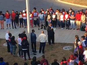 CPHS students gather in prayer for fallen classmate, Jeremiah Glass. (via Jefferson County BOE)