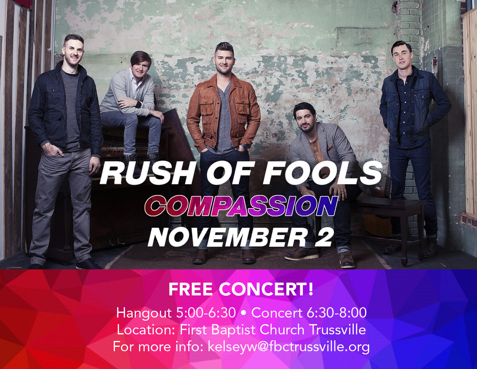 First Baptist Trussville to host Rush of Fools for free concert