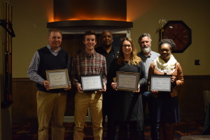 Tim Stull, Grayson Byram, Emily Burkett, and Nikoya Davis. On the back row are Rotarian and SOM Coordinator Ty Williams and Club President Tommy Trimm. (submitted photo)