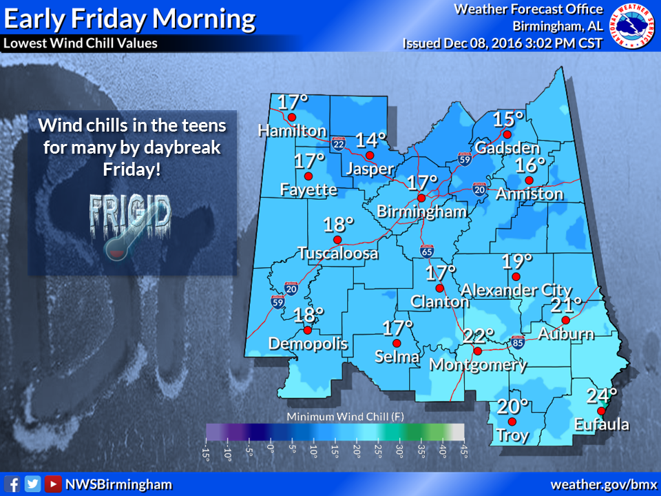 Cold weather warnings issued as wind-chill brings temperature into teens