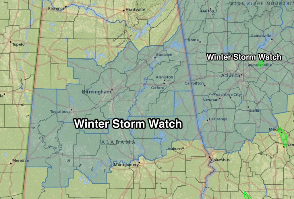 UPDATED 6 a.m. Thursday: Winter storm watch issued for Jefferson, St. Clair Blount counties for Friday, Saturday