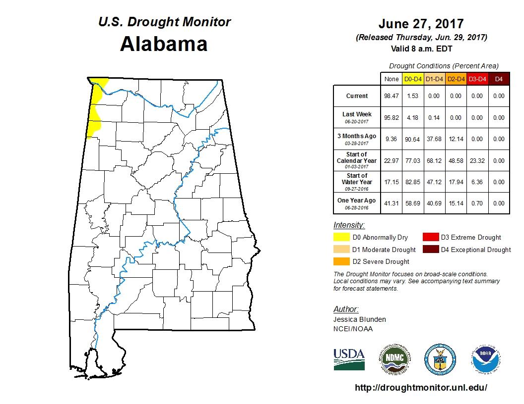 Alabama drought free according to U.S. Drought Monitor