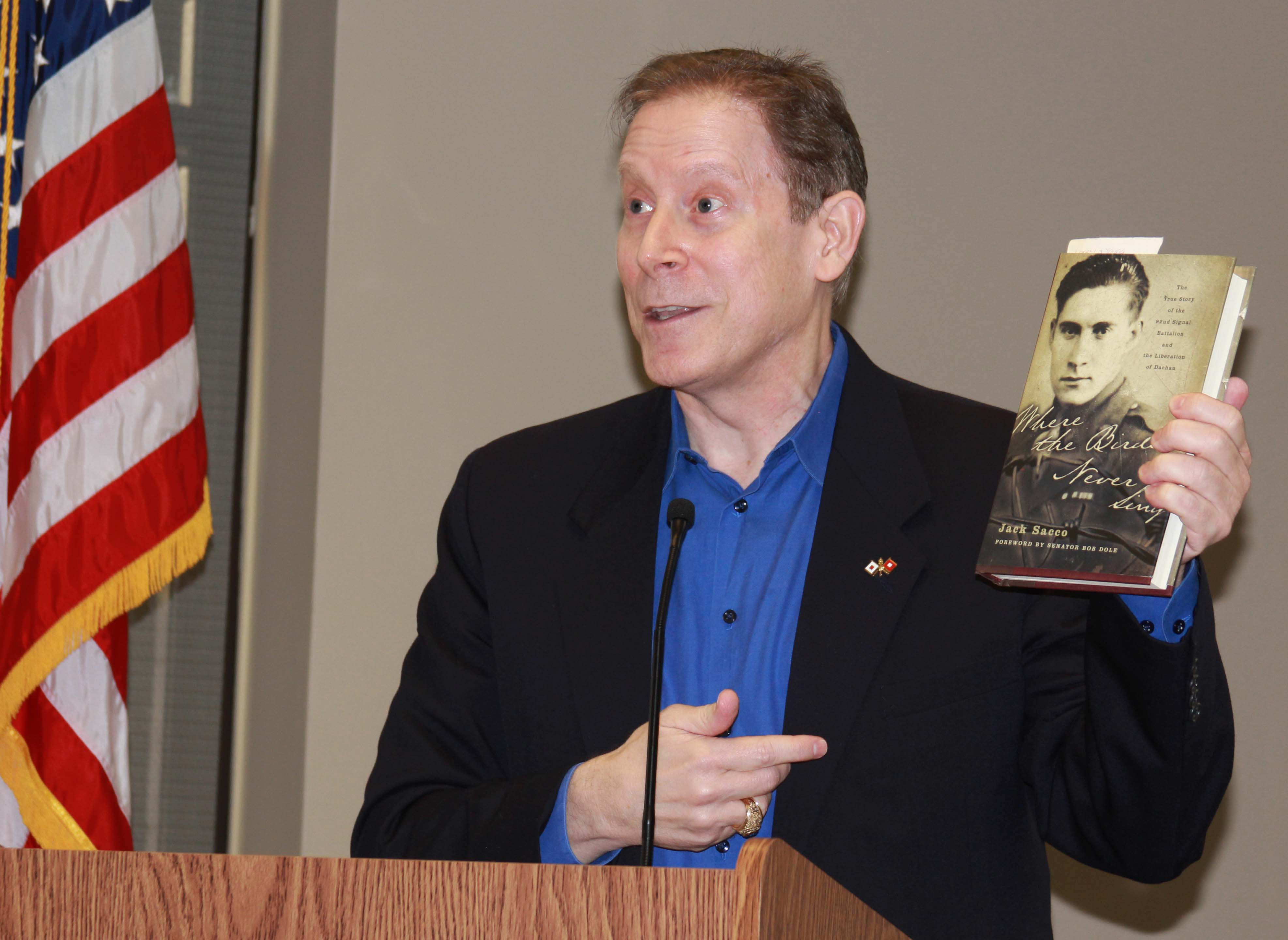Author entertains Chamber of Commerce with tales of his father's war, the writer's friendship with O.J. Simpson