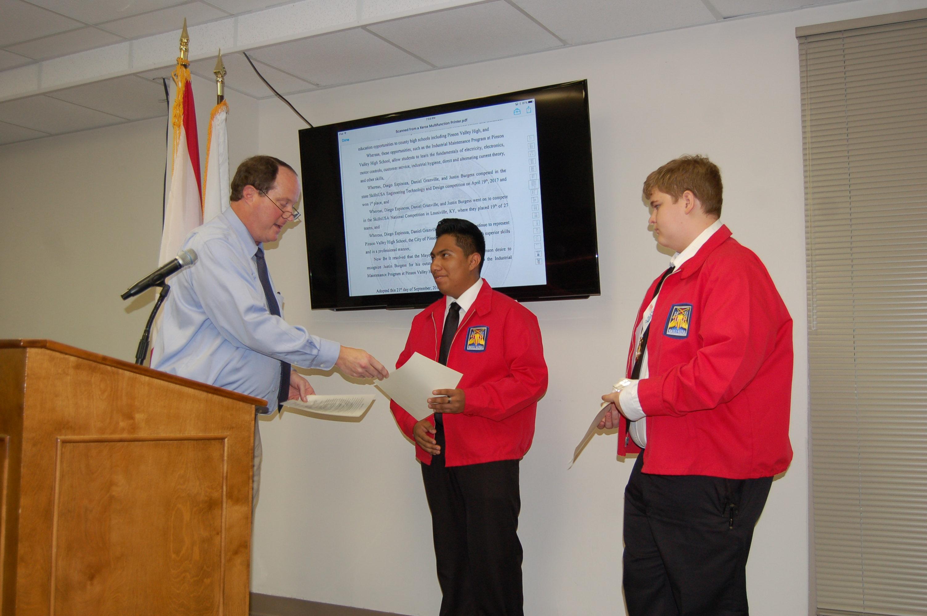 Pinson City Council recognizes PVHS industrial maintenance students