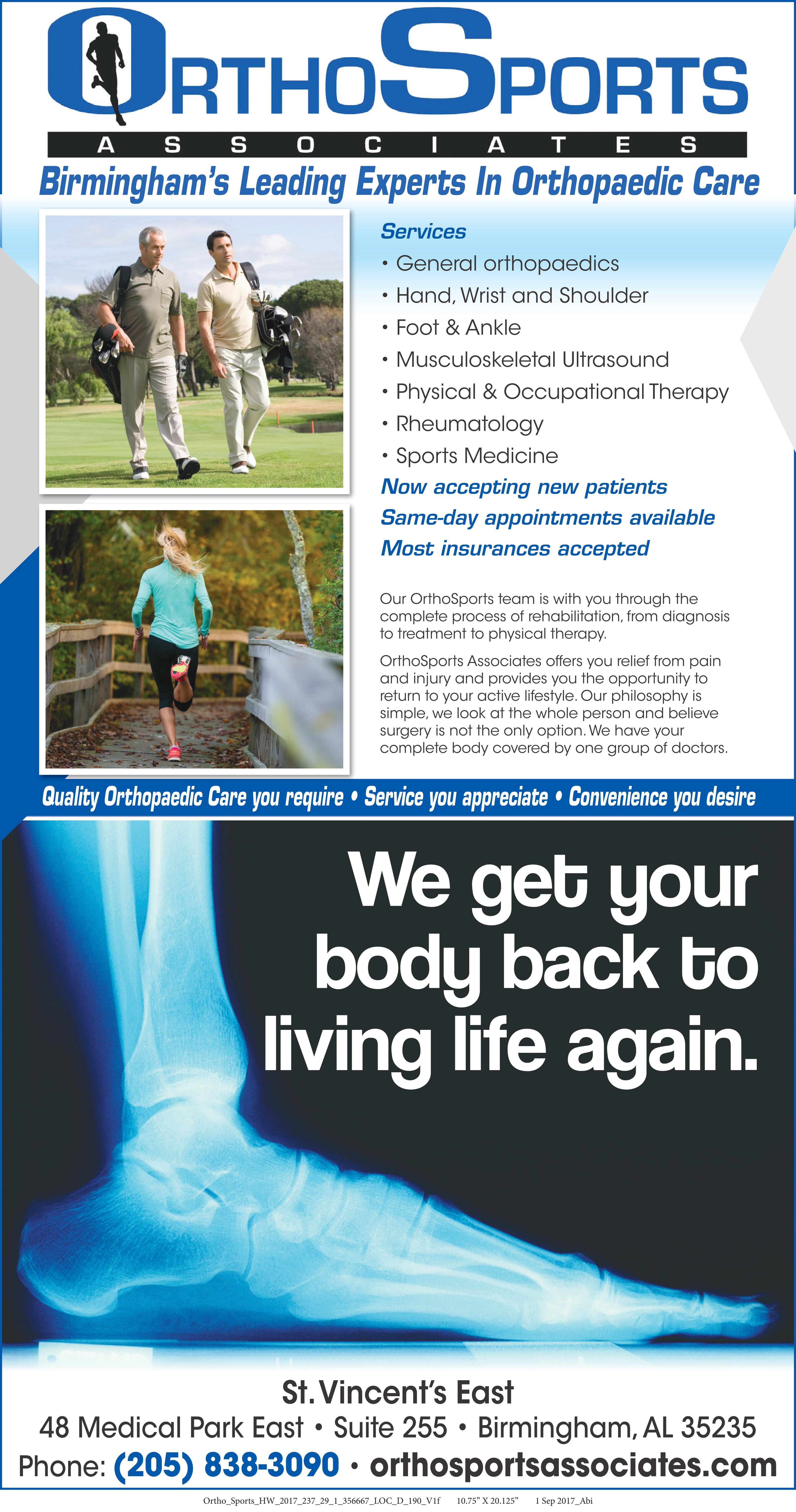 OrthoSports Associates at St. Vincent's East treats all orthopedic conditions