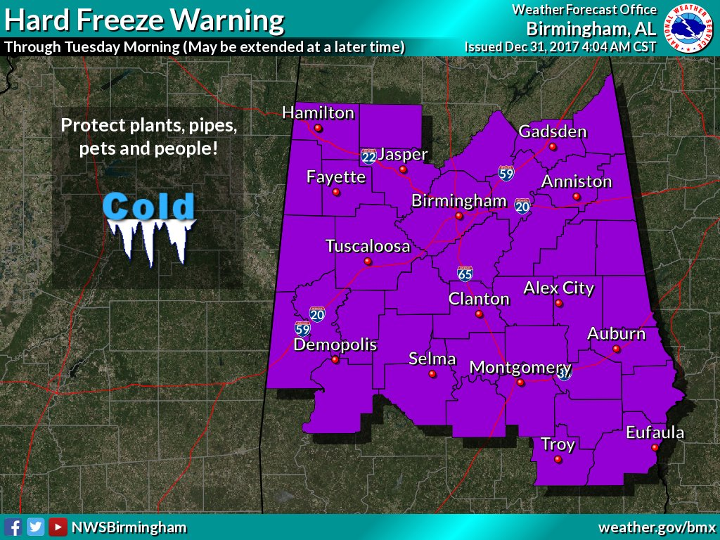 Jefferson, St. Clair included in hard freeze warning area