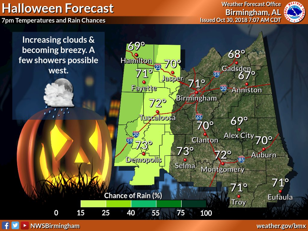 Trick or treating weather should be perfect. The next day, not so much