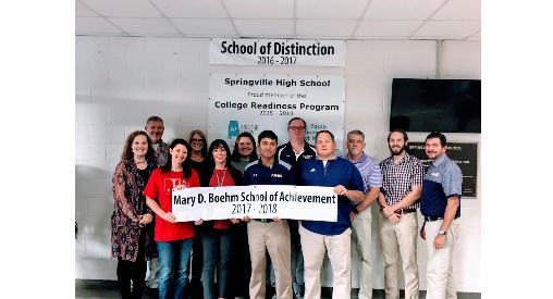 Springville High School receives the Mary D. Boehm School of Achievement Award