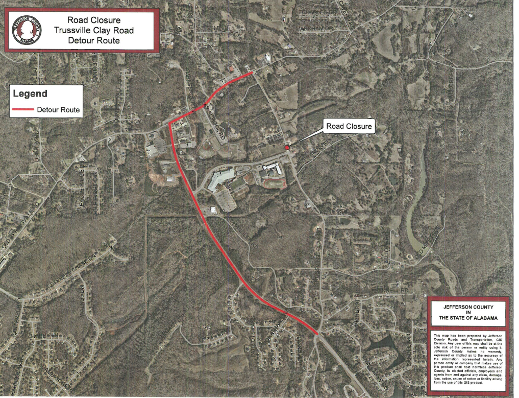 Road closures on Trussville Clay Road begins Friday