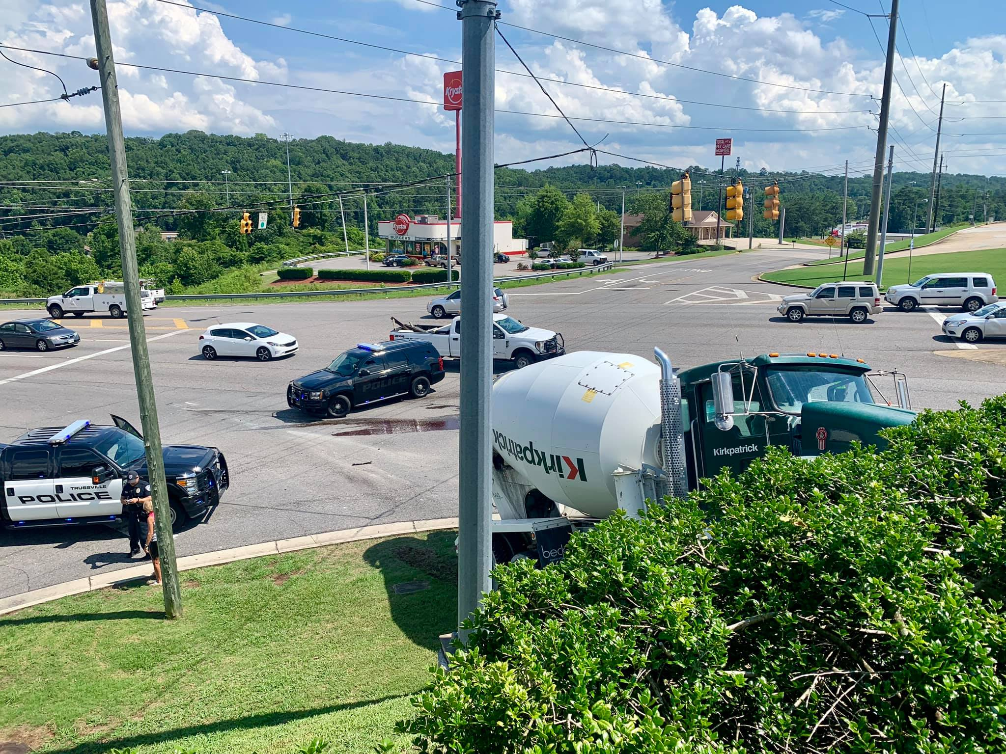 Concrete truck crashes in busy Trussville intersection
