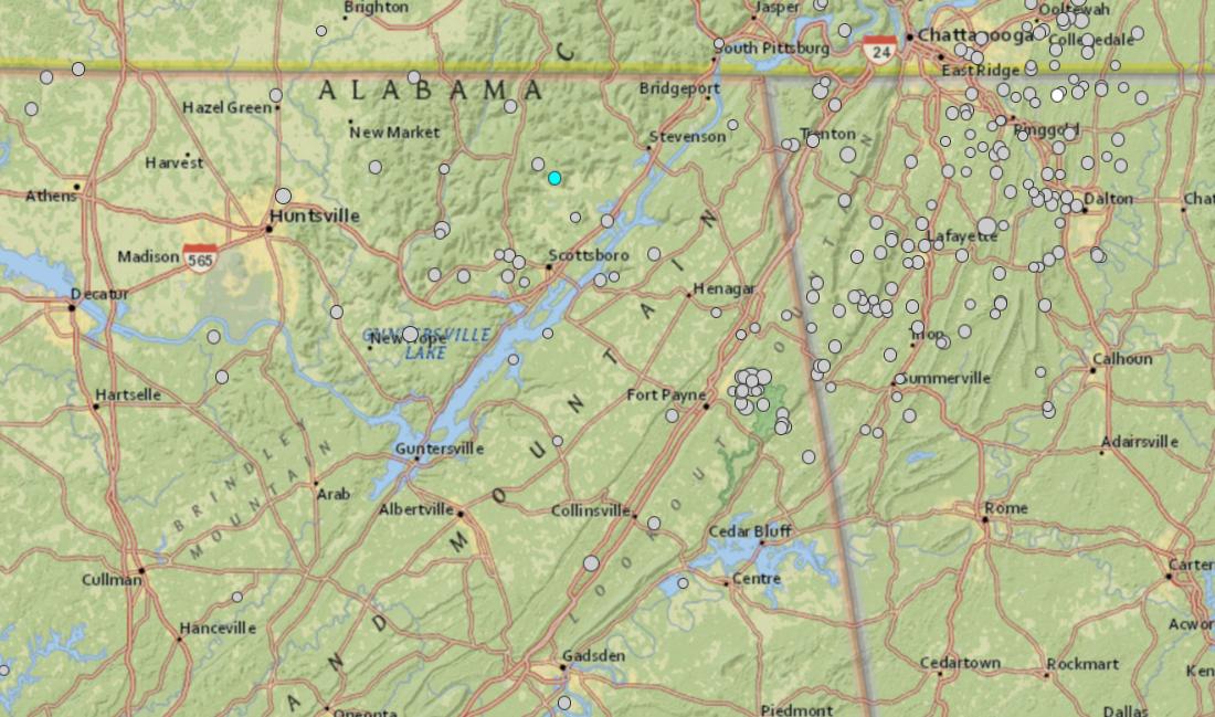Small earthquake recorded in north Alabama