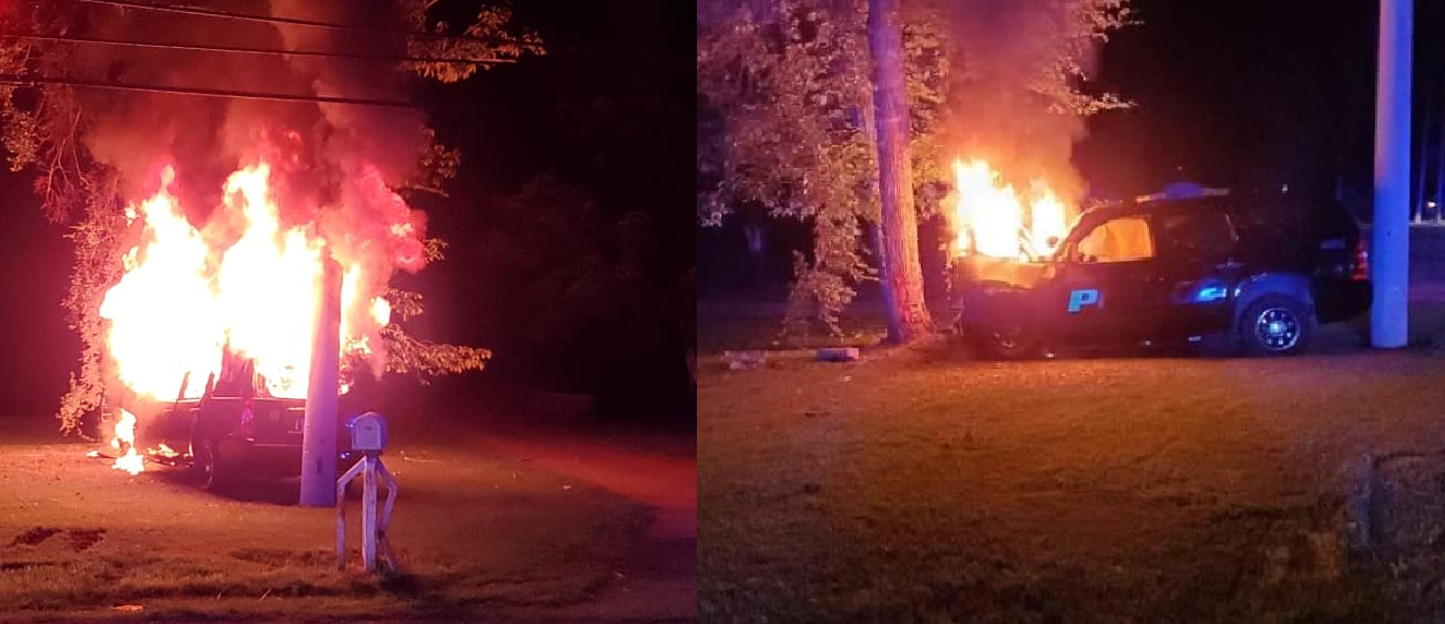 PHOTOS: Trussville PD cruiser catches fire after chase with carjacking suspects