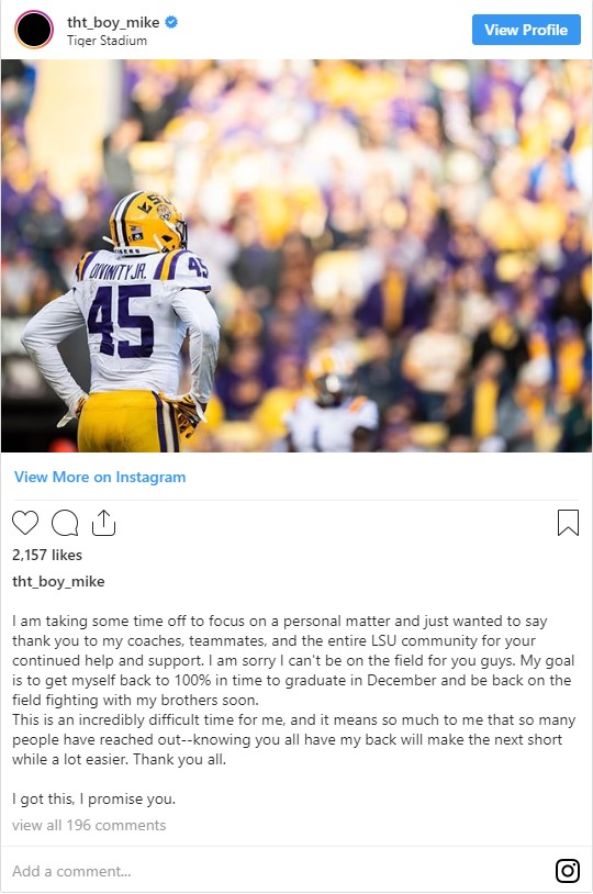 LSU sacks leader Michael Divinity leaves team for personal reasons with Alabama on deck