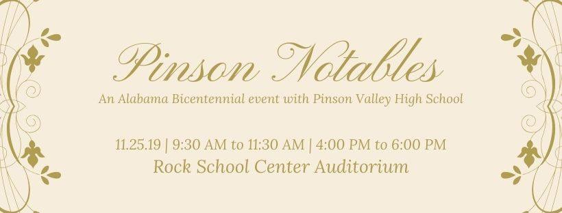 PVHS to present 'Pinson Notables: An Alabama Bicentennial Event'