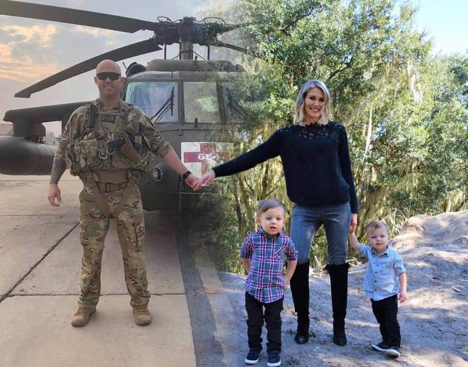 Military wife edits photo to include deployed husband for Christmas cards