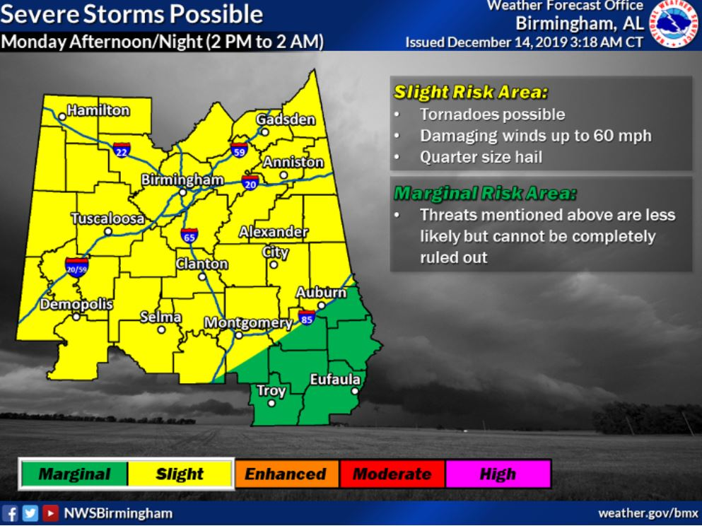 NWS: Chance for severe thunderstorms, tornadoes Monday