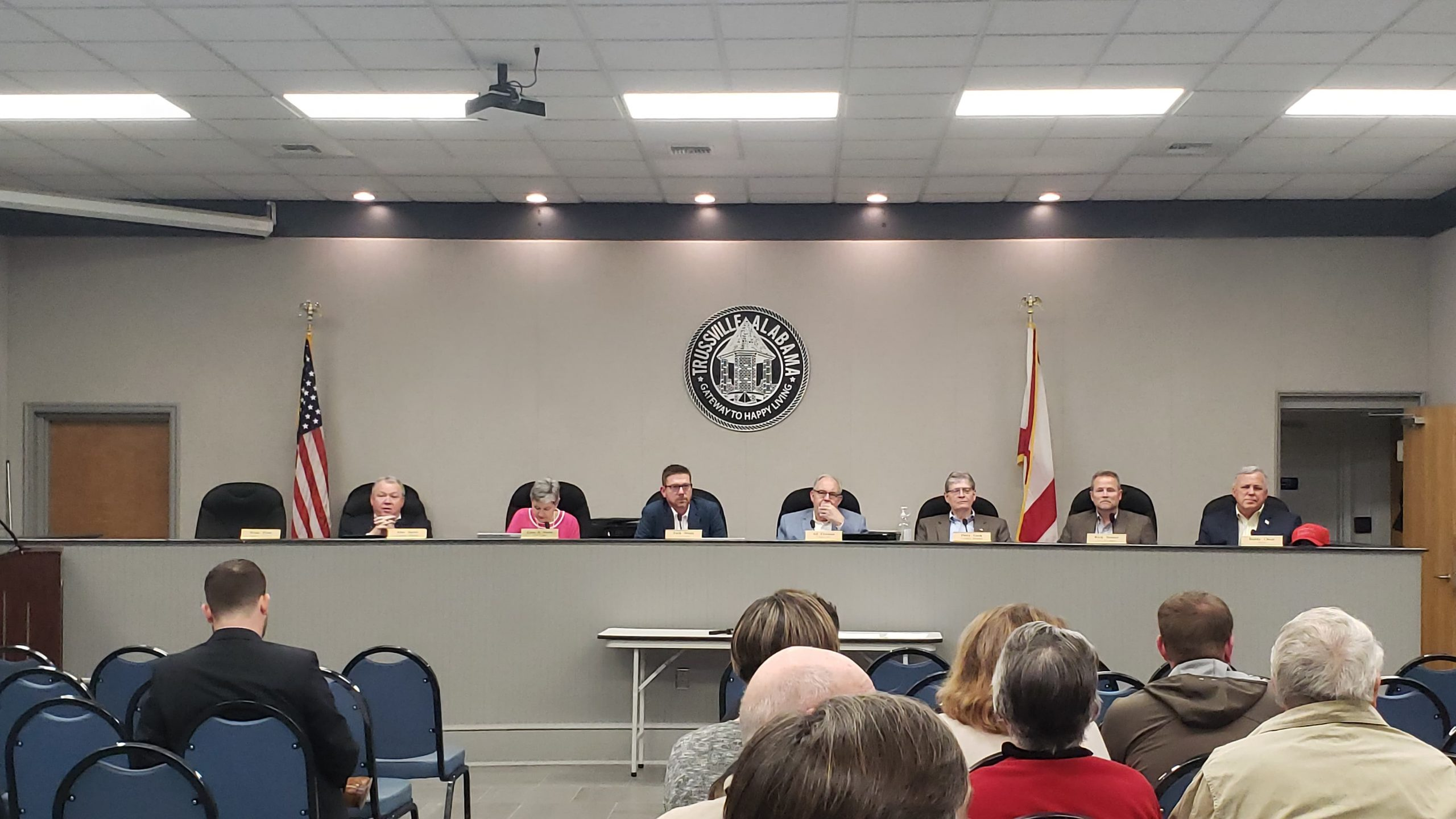 Trussville council begins with moment of silence, council approves making part of downtown street a one-way