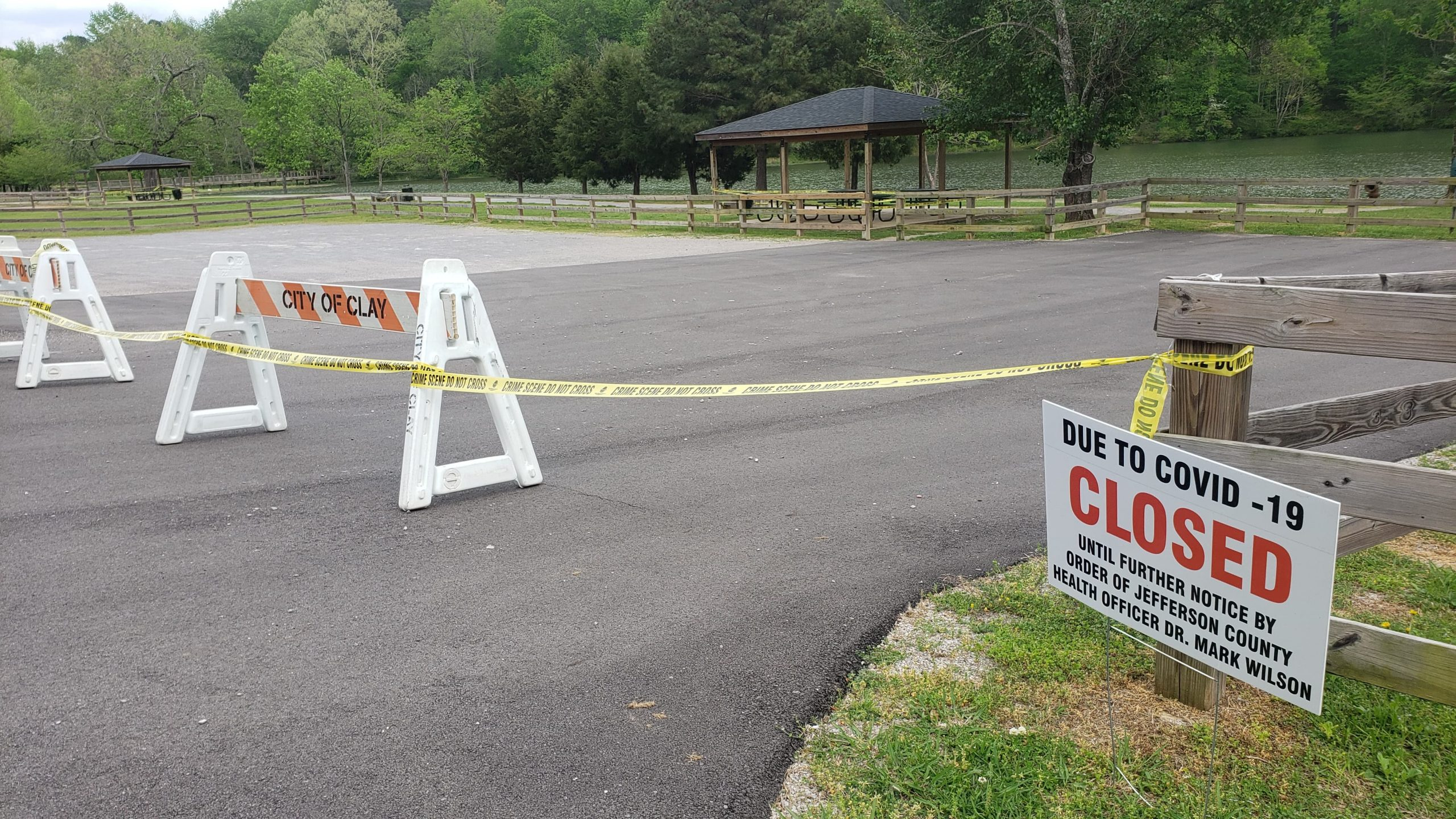 Entry to Cosby Lake in Clay blocked by barriers