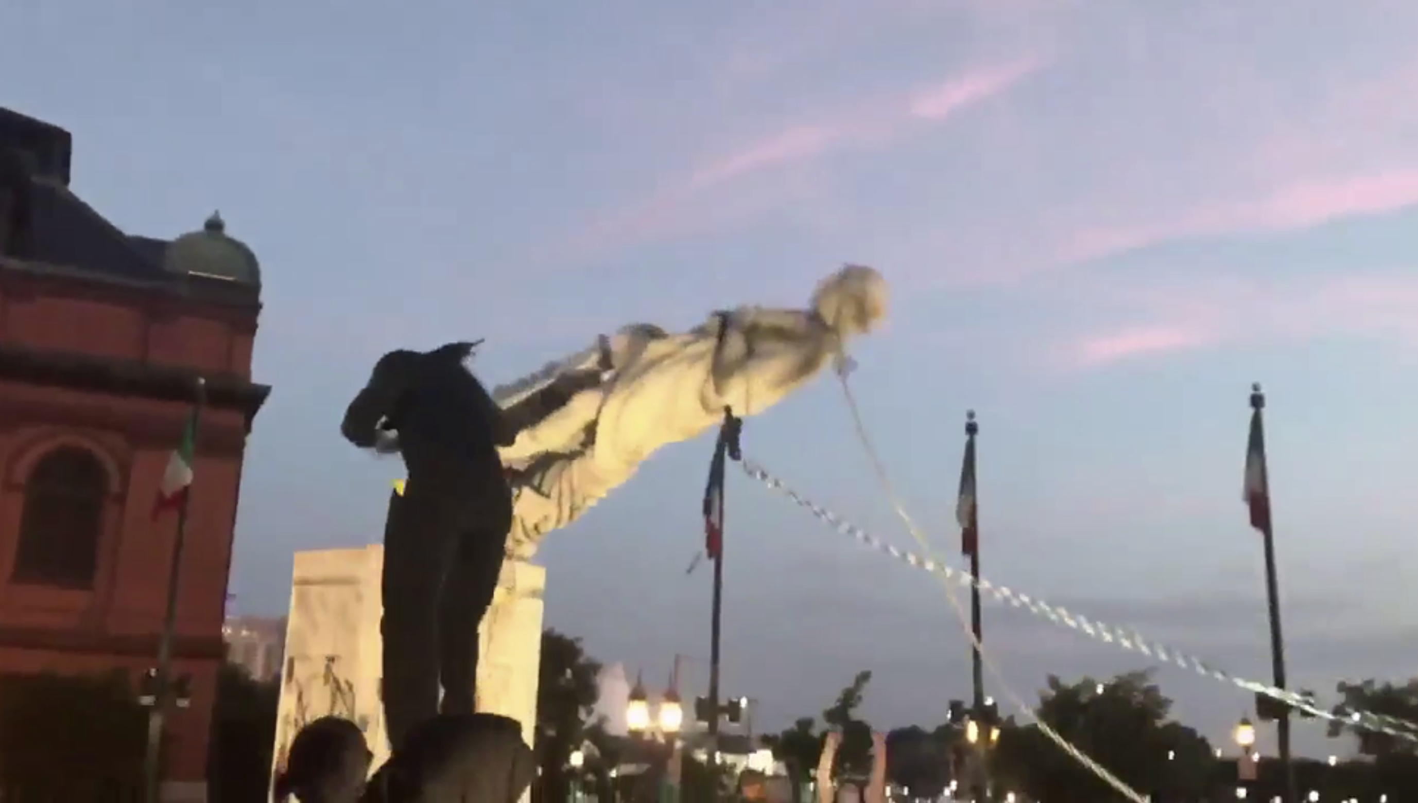 Columbus statue toppled by Baltimore protesters