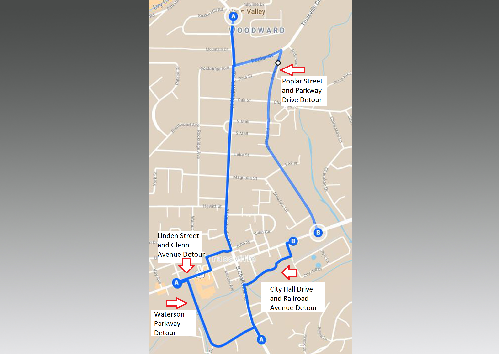 TRAFFIC ALERT: City of Trussville releases map showing detours for major road project