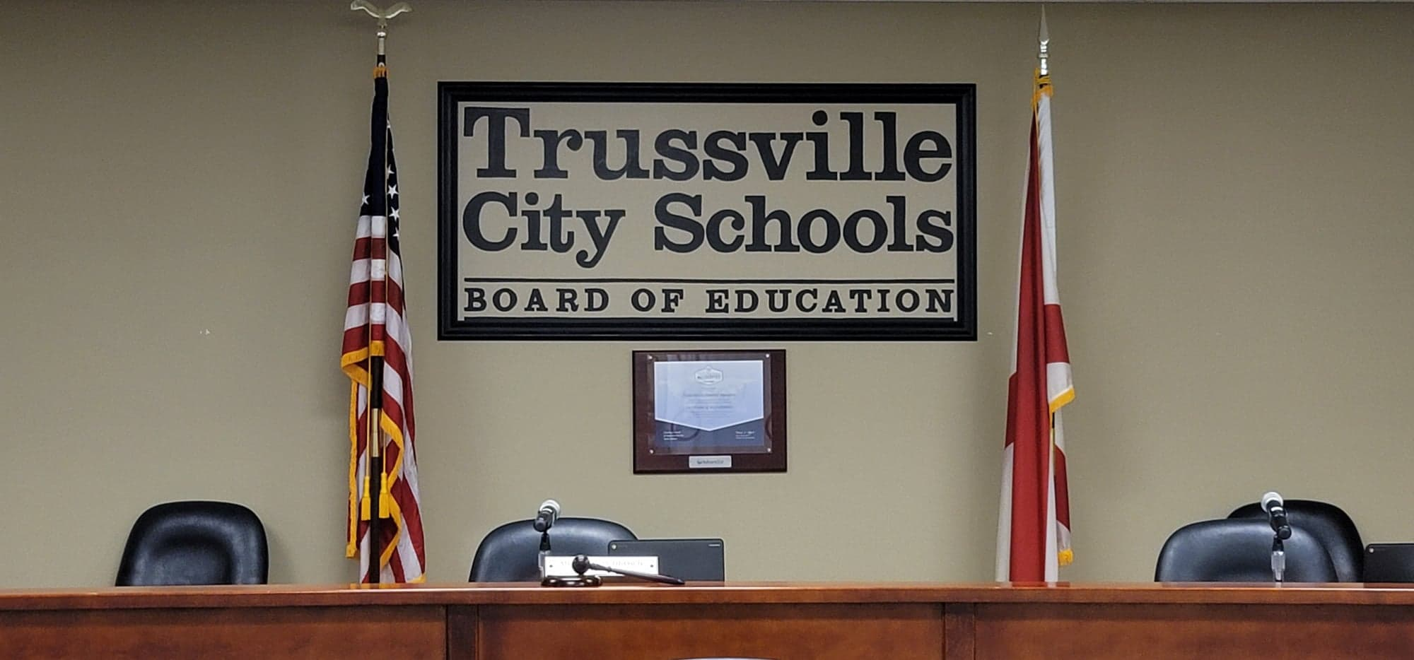 Trussville City Schools BOE recognizes basketball coach, discusses school year calendars