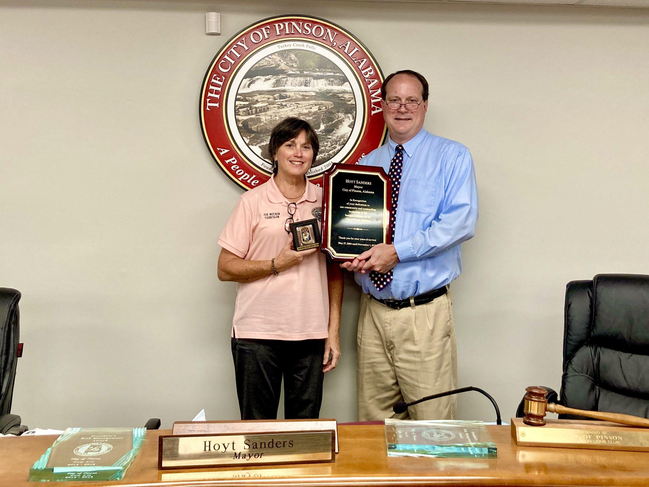 Pinson Council says farewell to Mayor Hoyt Sanders, Councilor Joy McCain