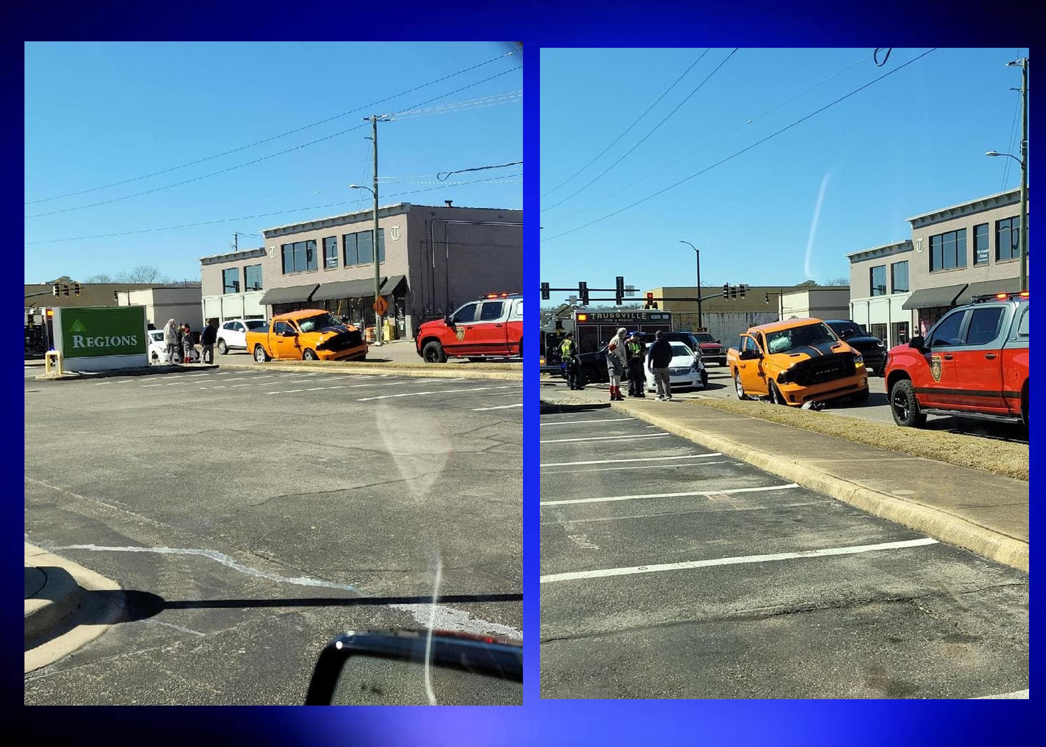 Trussville Police & Fire on scene of crash on Main Street
