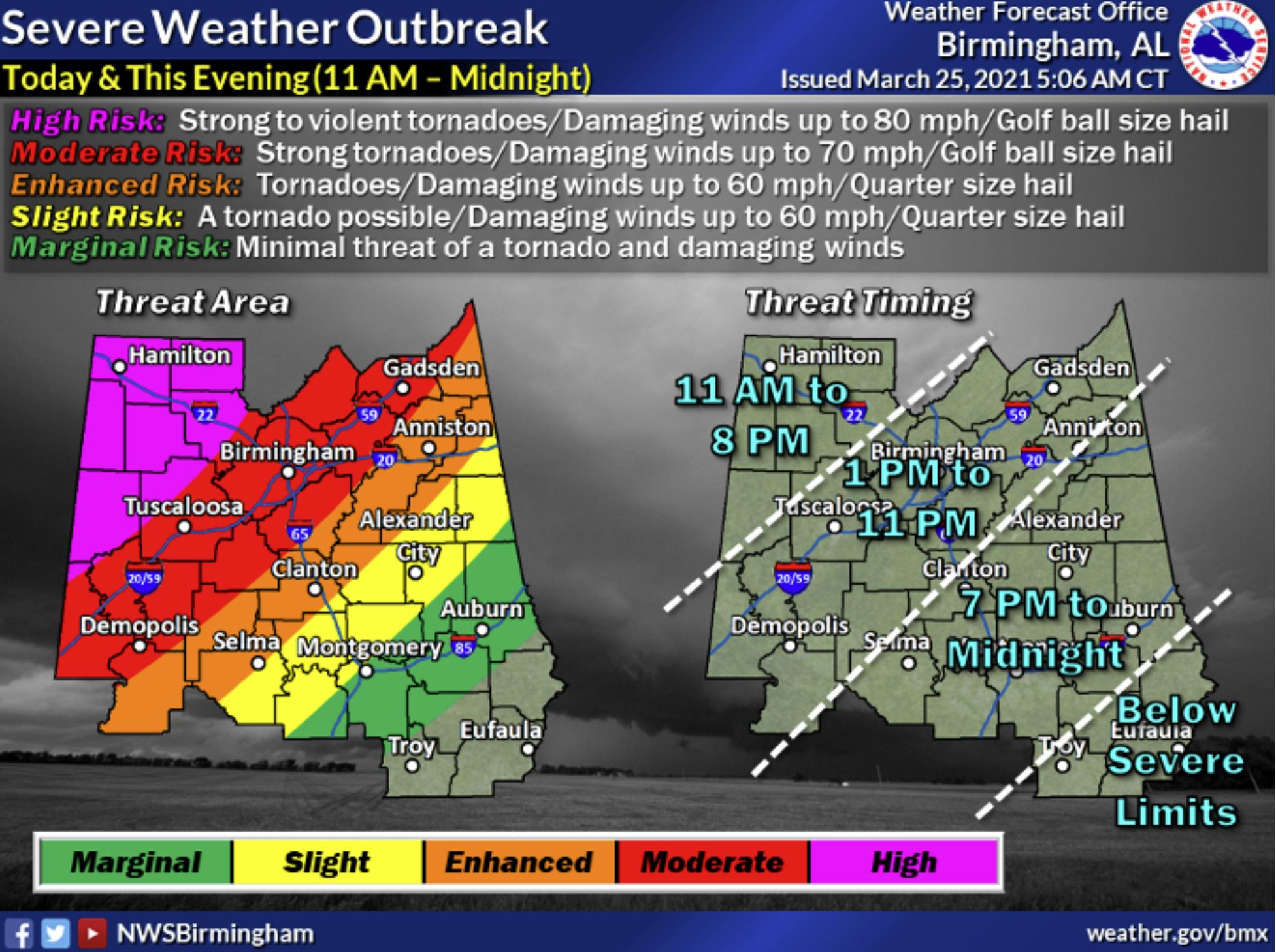 Severe weather risk heightens for this afternoon; early closures announced