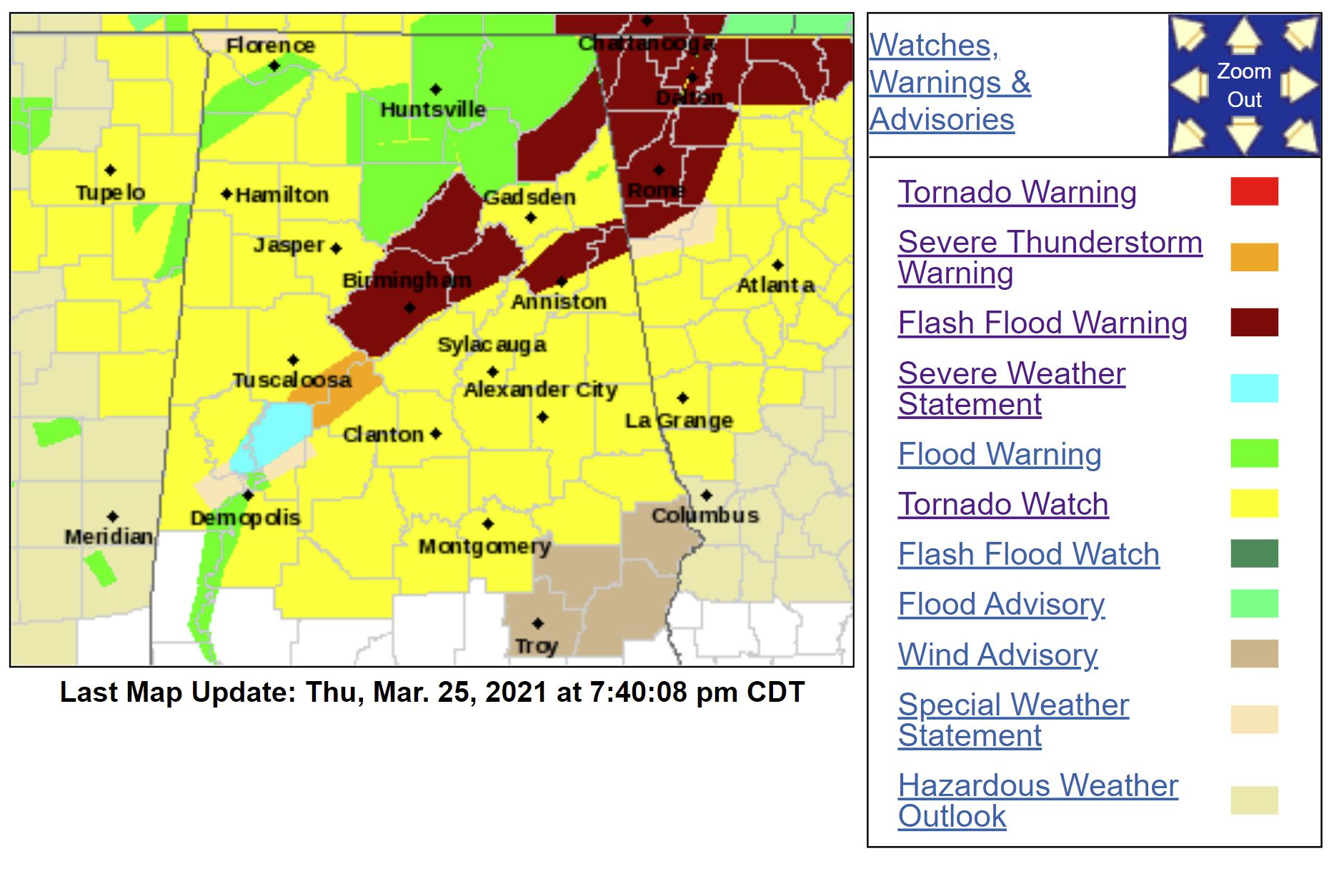 Severe Weather Day: Warnings and Watches/updated frequently