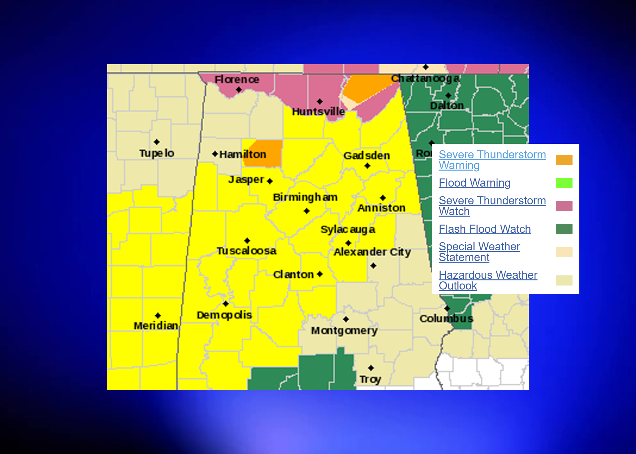NWS issues Tornado Watch for parts of central Alabama