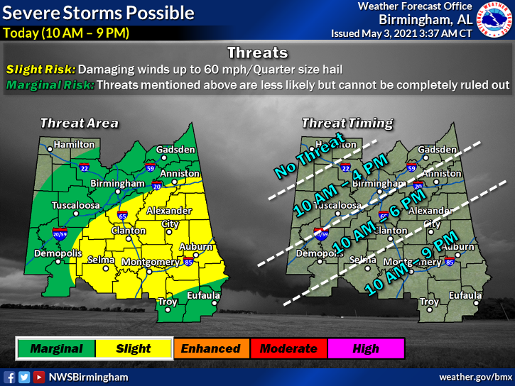 Chance of strong and severe storms today and tomorrow