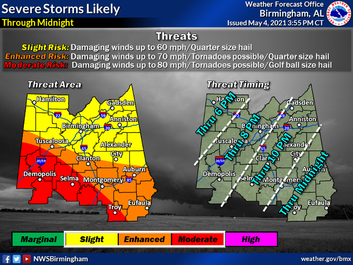 NWS increases risk for some Alabama Counties