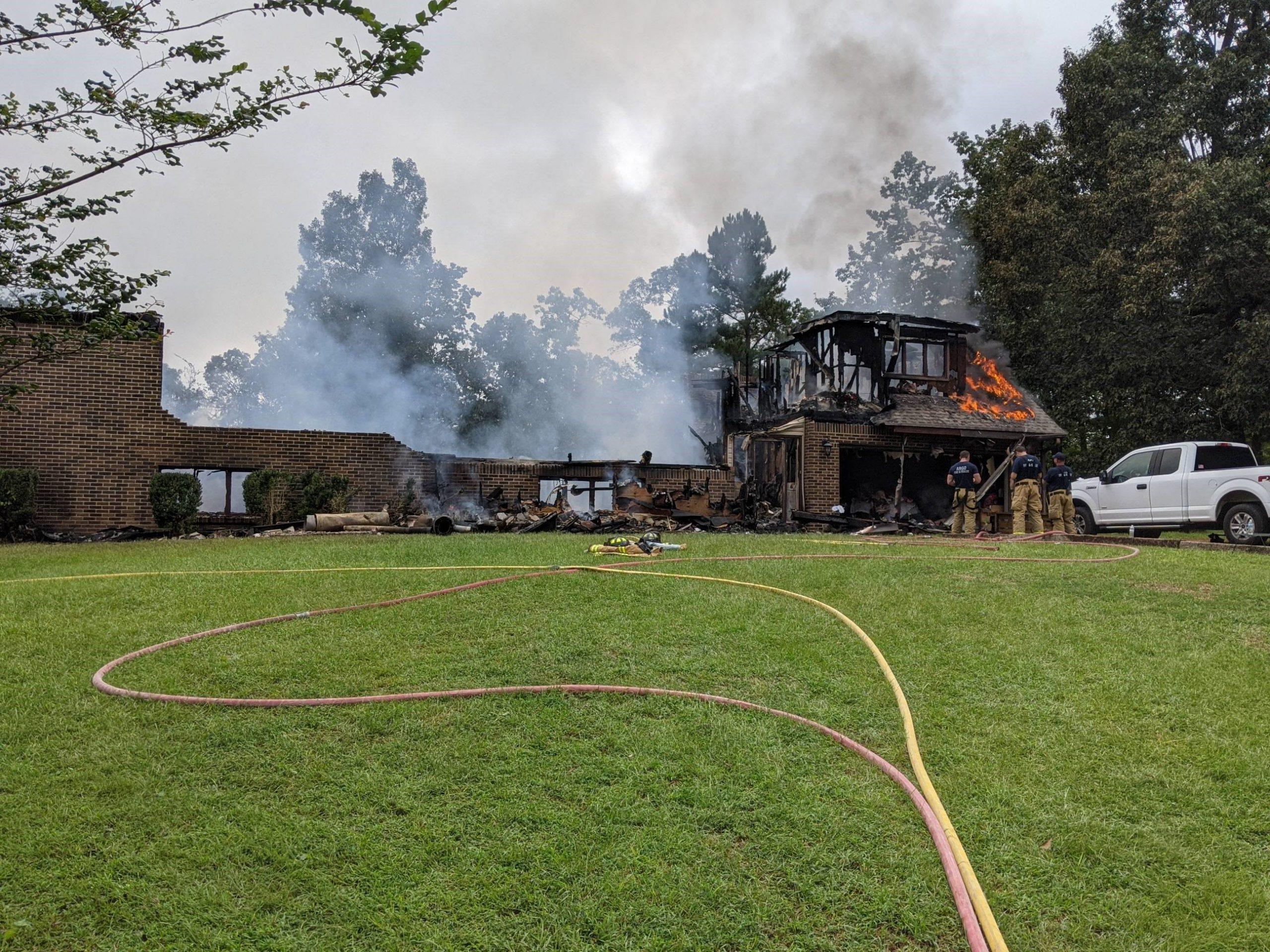 Argo Fire Department battles fire that destroys home